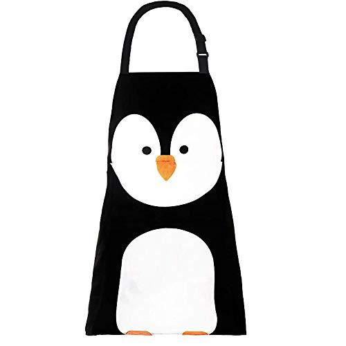 Avental ajustável MissOwl com laços extra longos e bolsos para cozinha doméstica e assar na cozinha e jardinagem avental para mulheres homens, Black Penguin, 1
