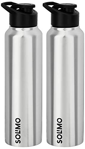 Amazon Brand – Solimo Stainless Steel Water Bottles (Silver, 1 L) 2 Pieces