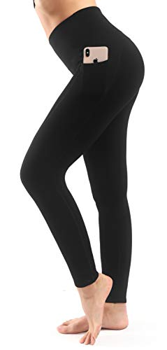 Sweetaluna Fleece Lined Leggings for Women,High Waist Thick Yoga Pants Workout Leggings,Winter Running Tights Black (28'' Full Length-Black, X-Large)