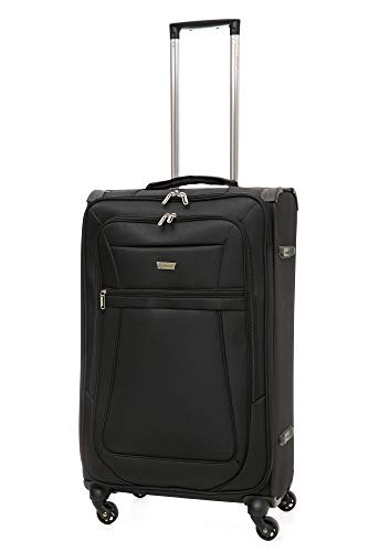 "Aerolite Reinforced Super Strong and Light 4 Wheel Lightweight Hold Check in Luggage Suitcase, 26"" (Medium, Black)"