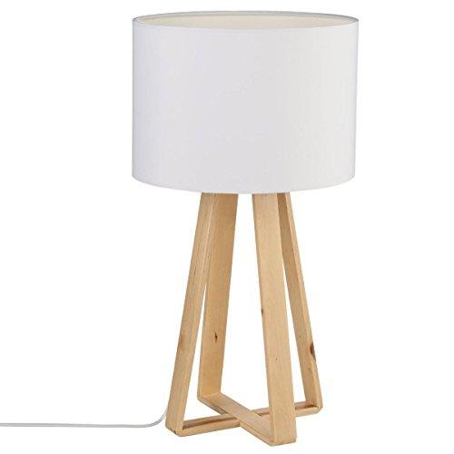 Lampada da tavolo con base in legno - Paralume di colore BEIGE