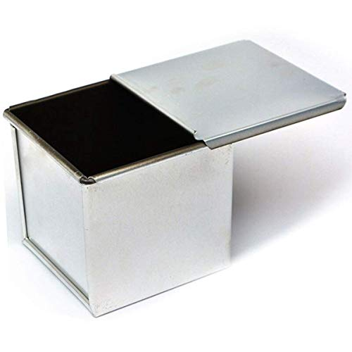 Aluminum Alloy Square Mini Cake Kitchen Bakeware Baking Tool Loaf Pan with Lid Bread Mold Toast Box(XL)