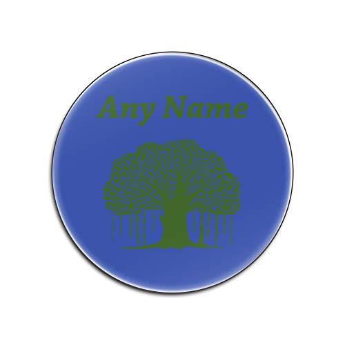 UniGift - Sottobicchiere in truciolato Lucido Banyan Tree (Tema con Piante Colorate, opzioni di Colore) – Qualsiasi Nome/Messaggio sul Tuo Unico – Tappetino – Verde baniano, Blue, Rotondo