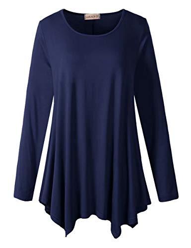LARACE Womens Long Sleeve Flattering Comfy Tunic Loose Fit Flowy Top (2X, Navy Blue)