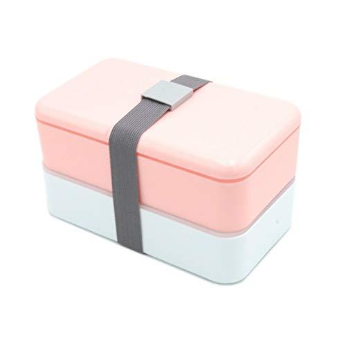 WFCQNB Caja de almuerzo japonesa de caja de bento, caja de almuerzo de plástico de doble capa cuadrada, con cuchara de palillos, almuerzo de microondas portátil para niños y adultos, almuerzo, conveni