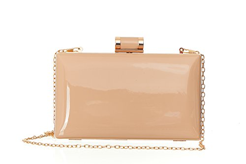 Faux Nude Patent Leather Purse Candy Nude Clutch Purse For Women, Shiny Solid Patent Nude Clutch with Top Clasp