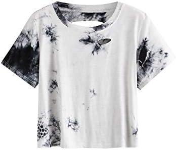SweatyRocks Women s Summer Short Sleeve T Shirts Distressed Ripped Crop Tops Tie Dye Black White product image