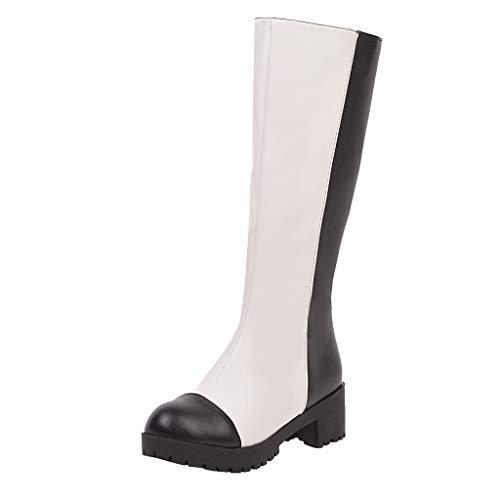 COZOCO Gummistiefel Damen Splicing Farbe Regen Stiefel Runde Zehen Platz Ferse Langschaft Stiefel Wasserdicht rutschfest Outdoor High Stiefel(Weiß,39 EU)