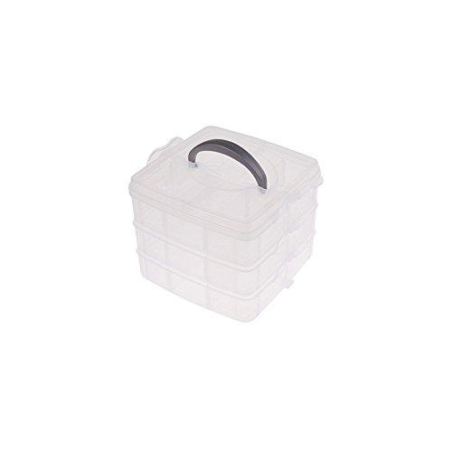 3 couches amovible Boîte de rangement en plastique Transparent Boîte de plastique à bijoux Organiseur support pour armoires pour objets de petite taille S blanc
