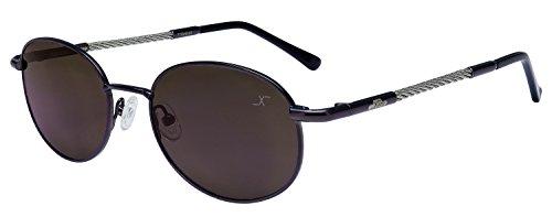 Xezo Titan & Stahl Kabel Draht Polarisierte Sonnenbrille Antireflex Spiegel Objektive, dunkel Gun Metall, 0,8oz