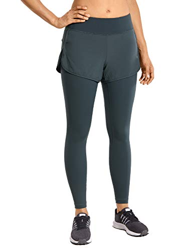 CRZ YOGA Pantalones Deportivos 2 in 1 Leggings para Mujer Running Fitness Training Pants con Bolsillos-63.5cm