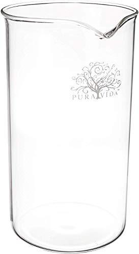 Pura Vida French Press Ersatzglas 8 Tassen, 34 Ounce, Universalgröße für Bodum Bonjour – Ersatz French Press Glas Beaker für 1000 ml Kaffeepresse, hitzebeständige Borosilikatglaskaraffe