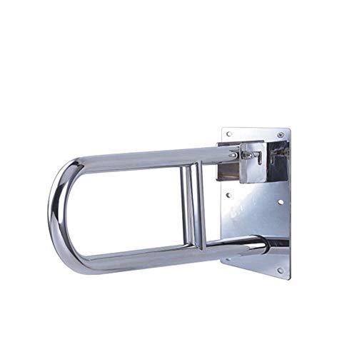 L.TSA Barre d'appui de Douche de Rail de Cadre de Toilette de sécurité de Flip (Acier Inoxydable) Résistance de dérapage Pliable Handicap Accessoires de Salle de Bains pour l'aide de handica