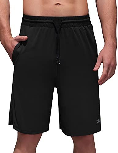 TOREEL Mens Shorts with Pockets - Running Shorts for Men Athletic Shorts Men Shorts Elastic Waist Workout Gym Shorts Black