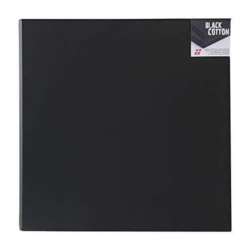 Honsell 15110 - Keilrahmen Black Cotton, hochwertige schwarze Leinwand, ca. 10 x 10 cm, 100 % Baumwolle, trommelhart bespannt auf Fichtenholz