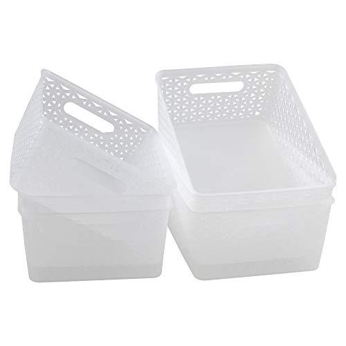 Dynko 6 Pack Transparent Cestini Portaoggetti, Cesta Plastica Impilabile