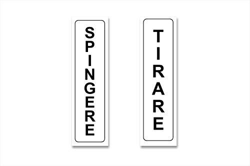 Readyprint 2 Adesivi Scritta: Spingere - Tirare - targhette adesive, Etichette avviso per Porte. Mis. 21x6 cm - (Verticali) 2 pz.