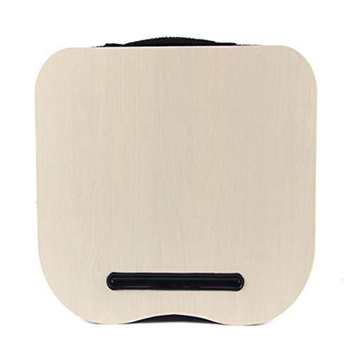 QUVIO Laptop schoot kussen/Laptopkussen/Schoottafel laptop/Schootkussen met gleuf voor tablet/Licht hout/Schootdienblad - Beige
