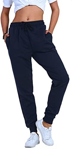 Björn Swensen Pantaloni da jogging da donna in cotone, pantaloni sportivi da donna, pantaloni lunghi per il tempo libero, pantaloni da allenamento, per ragazzi e jogging, slim fit, Blu scuro, L
