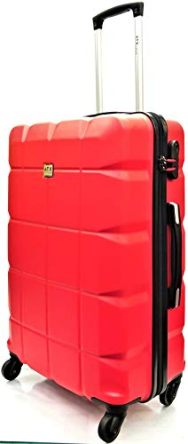 24' Medium ATX Luggage Super Lightweight Durable ABS Hard Shell Hold Luggage Suitcases Travel Bags Trolley Case Hold Check in with 4 Wheels Built-in 3 Digit Lock (24' Medium, Raspberry)