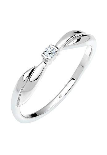 DIAMORE Ring Damen Verlobung mit Diamant (0.03 ct.) in 925 Sterling Silber