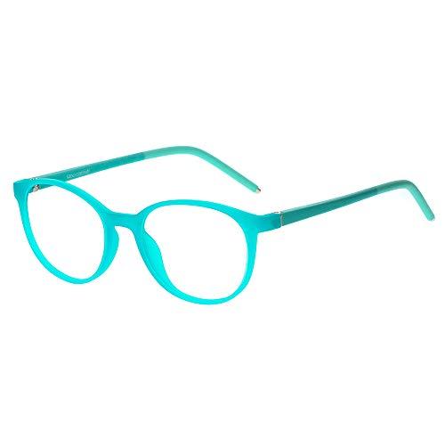 Kinder Kids Brille Teenager Gestell Fassung schick biegsam niedlich Brillenrahmen Gläser klar, ungeschliffen und rund für Jungen Mädchen (Alter 5-12 Jahre) (WMB01-04 C18)
