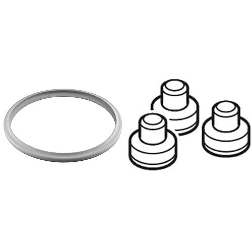 Silit Ersatzteil Sicomatic Dichtungsring, 22 cm, für Schnellkochtopf 3,0l, 4,5l, 6,5l, 8,5l, Silikonring, Silikon & Ersatzteil Aromaschutzkapp, Sicomatic t-Plus/T/L/SN, 3-teilig