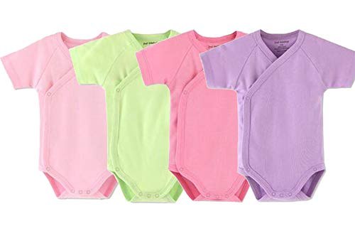 Baby Boys Girls Short Sleeves Kimono Onsies Cotton Baby Side-Button Bodysuit Pack of Cardigan Onsies for Infants (3-6 Months)