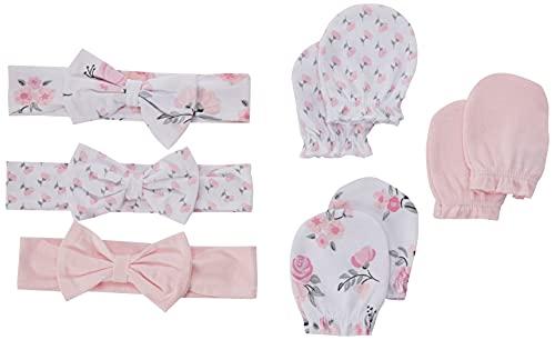 Hudson Baby Unisex Baby Cotton Headband and Scratch Mitten Set, Pink Floral, 0-6 Months