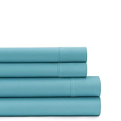American Home Collection Deluxe 4 Piece Bed Sheet Sets of Brushed Microfiber Wrinkle Resistant Silky Soft Touch (Queen, Aqua)