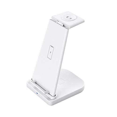 Estación de carga inalámbrica 3 en 1, cargador rápido Qi de 10 W, modo de mesita de noche para I/reloj serie 4/3/2/1, carga rápida para iPhone 12/11/Pro Max/XR (blanco)