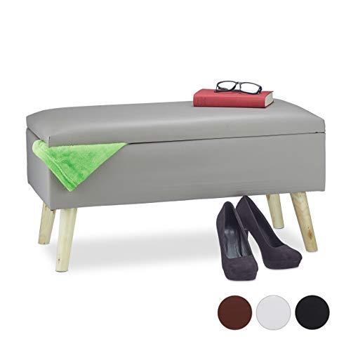 Relaxdays Sitzbank mit Stauraum, 40 L, gepolstert, Holzbeine, Truhenbank Kunstleder, HxBxT: 40 x 80 x 39,5 cm, grau