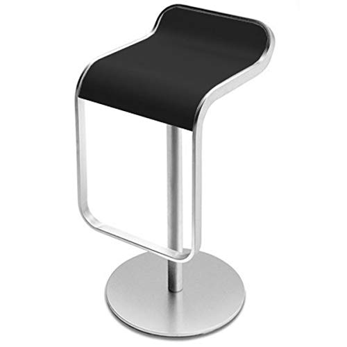Lem S79 55-67 Barhocker Gestell matt verchromt, schwarz Sitzschale Holz lackiert H 63-75cm Sitzhöhe 55-67cm T 42cm Säule sandgestrahlt Fuß Leinenstruktur Ø37cm