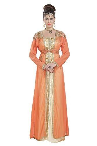 Maxim Creation 6630 - Vestido de novia marroquí para damas árabes sauditas Chaqueta de tomate e interior beige. XXXL