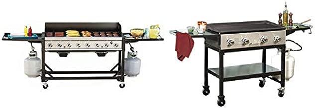 RANKAM Commercial LP Gas Portable 8-Burner Event BBQ Grill & Matching 4-Burner Griddle