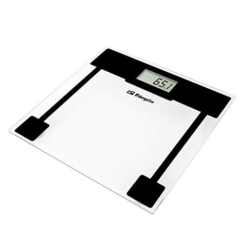 Orbegozo PB 2210 - Báscula de baño, superficie de cristal templado, activación mediante el tacto, pantalla LCD, capacidad máx. 150 kg, indicador de sobrecarga, funciona a pilas