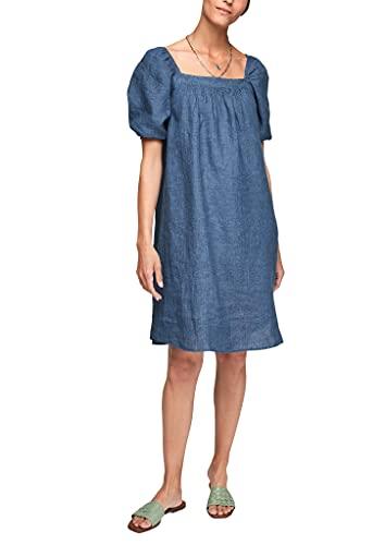 s.Oliver Damen Leinenkleid mit Puffärmeln Faded Blue Melange 34