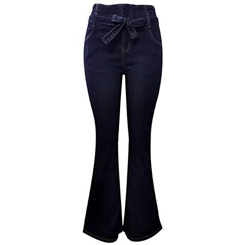 XinXinFeiEr Estiramiento Pantalones Vaqueros Lavados De Alta Cintura Femenina Correa Delgados Altavoces Delgados Casual (Color : Dark Blue, Size : XL)