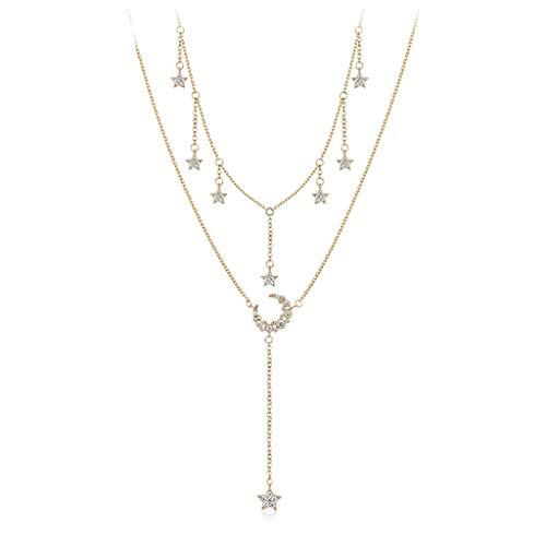 Collares para Mujer Tan bastante delicada en capas Gargantilla Collares colgante de la estrella de múltiples capas de la cadena ajustable de estratificación del oro fijados collares for muchachas de l
