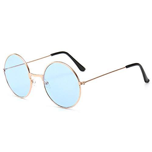 YDXC Gafas de Sol Retro Vintage Round Metal Hombres Mujeres Moda Gafas Conductor Gafas aplicar al Trabajo por Ordenador o Conducir y Otras Actividades al Aire Libre-Blue_Style