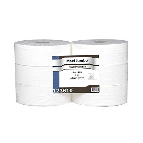 Papier toilette Maxi Jumbo - 6 Rouleaux de 350 m - 2 plis - Le Pro du Médical