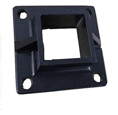 "Aluminum Heavy Duty Floor Post Flange fits 2"" Sq Post for Fence or Deck - Black (12)"