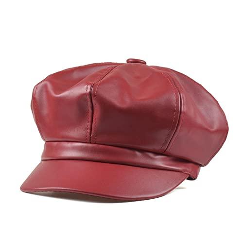 ppghwl Sombrero De Color Brillante De Cuero De La Boina De La Visera De Las Mujeres (Dos Piezas), Wine Red