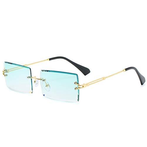 LYYCEU Estilo Viajero Moda Sin Monta de montañismo Gafas de Sol de Moda Pequeño rectángulo Gafas de Sol UV400 Shades para Hombres Mujeres Gafas (Color : Gold Green)