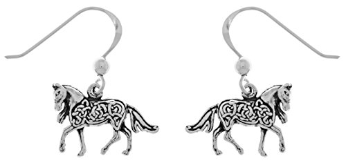 Jewelry Trends Small Celtic Knotwork Horse Shaped Sterling Silver Dangle Earrings