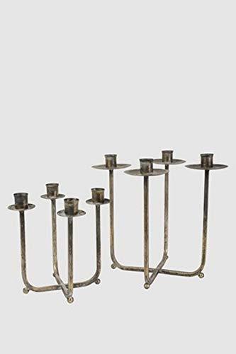 Vintage Home Kandelaar van ijzer met houder voor 4 kaarsen adventkrans, Kandelaar Riccione 2 maten Kerstkaarsenhouder L 22 x 22 x 29 cm Goudbruin antiek