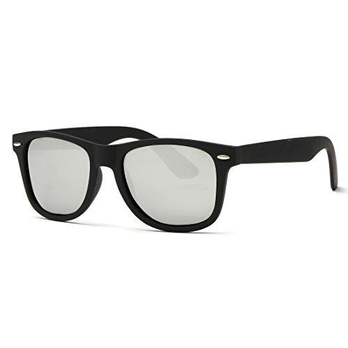 kimorn Polarizado Gafas De Sol Clásico Unisexo Cuerno Rimmed Años 80 Retro AE0300 (Negro&Plata, 52)