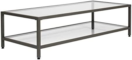 Best Studio Designs Home Camber Modern Rectangular Glass Coffee Table In Gray Pewter With Clear Glass, Li