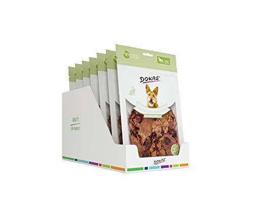 Dokas Getreidefreier Premium Snack mit Kaninchen für Hunde – Ideal für unterwegs, 7 x 100g