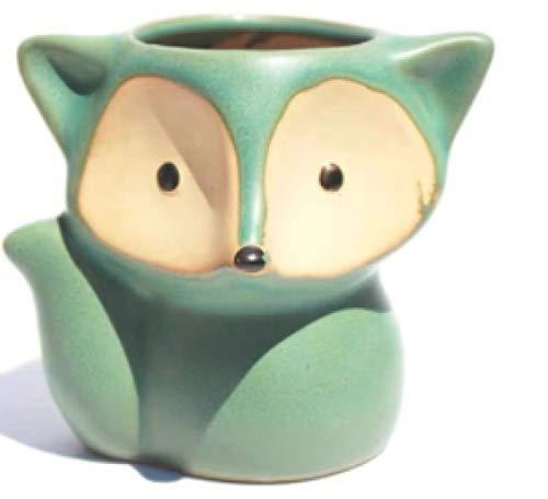 Ceramic Fox Succulent Plant Pots, Cute Mini Bonsai Flower Pots, Cartoon Flower Pots for Home Garden Decoration, Old Pile-Controlled Pots